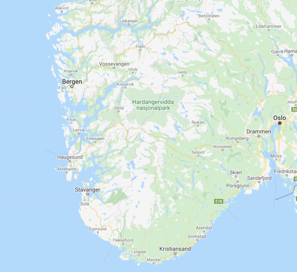 carte Norvège du sud